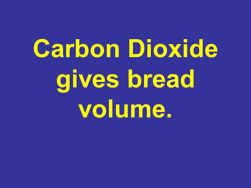 Carbon Dioxide gives bread volume.