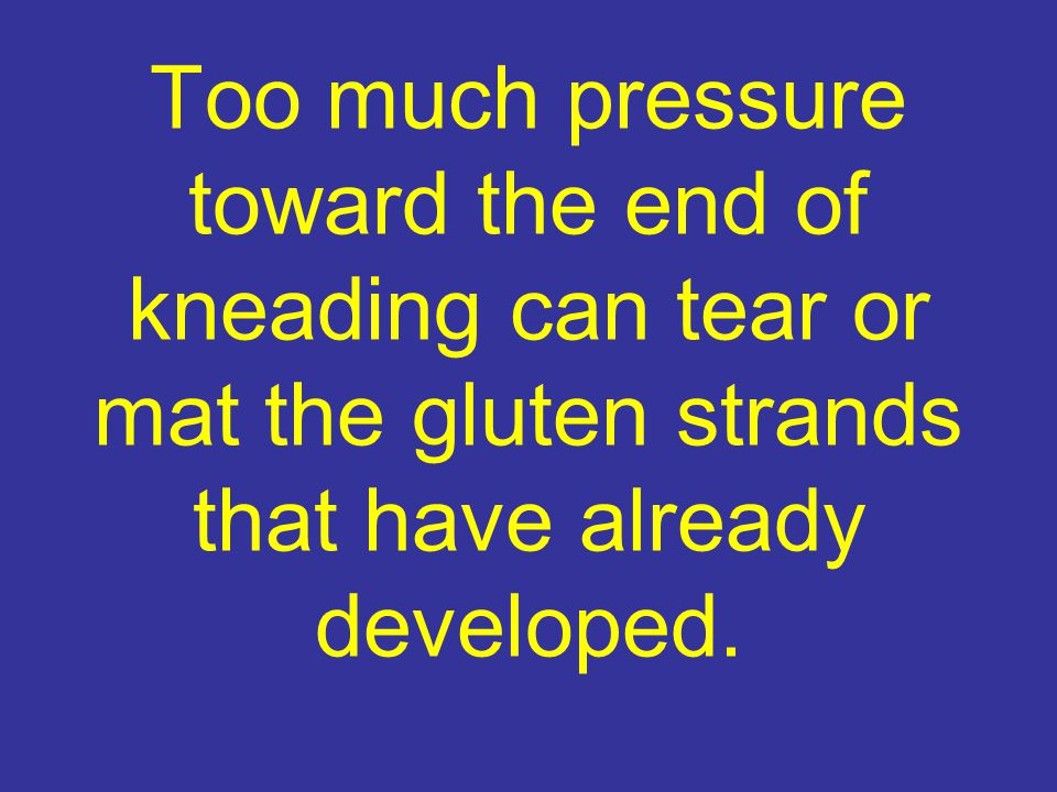 Too much pressure toward the end of kneading can tear or mat the gluten strands that have already developed.