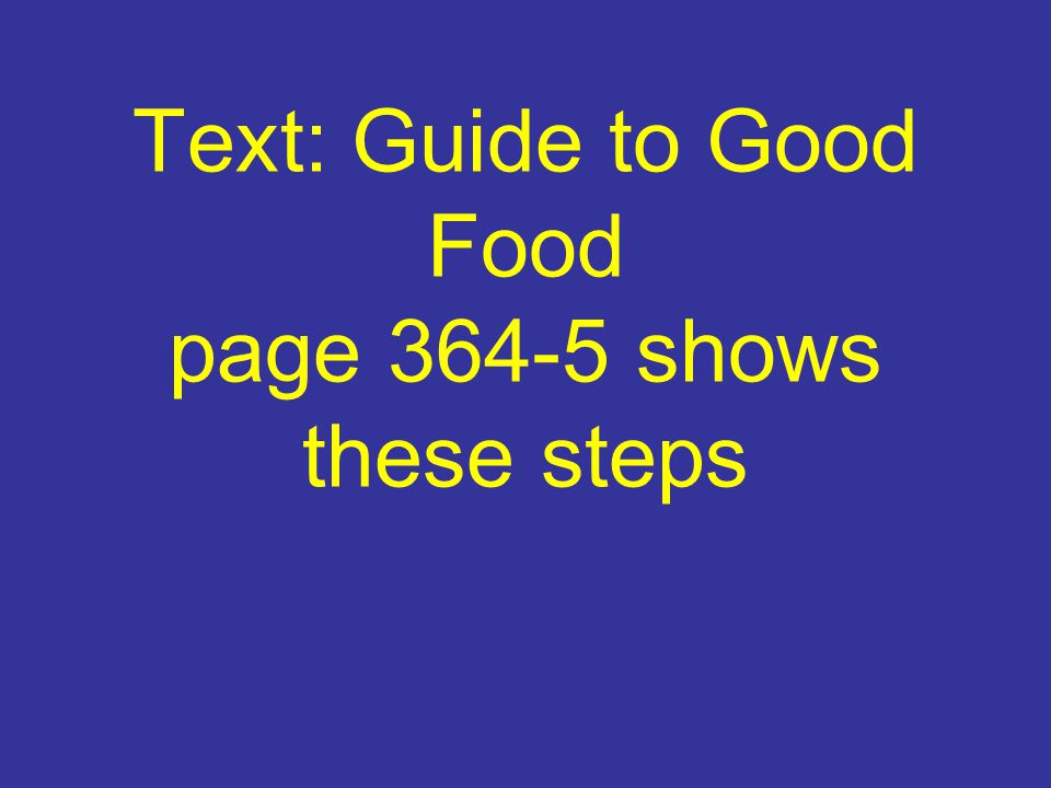 Text: Guide to Good Food page 364-5 shows these steps