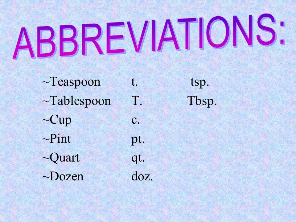 ABBREVIATIONS: ~Teaspoon t. tsp. ~Tablespoon T. Tbsp. ~Cup c.