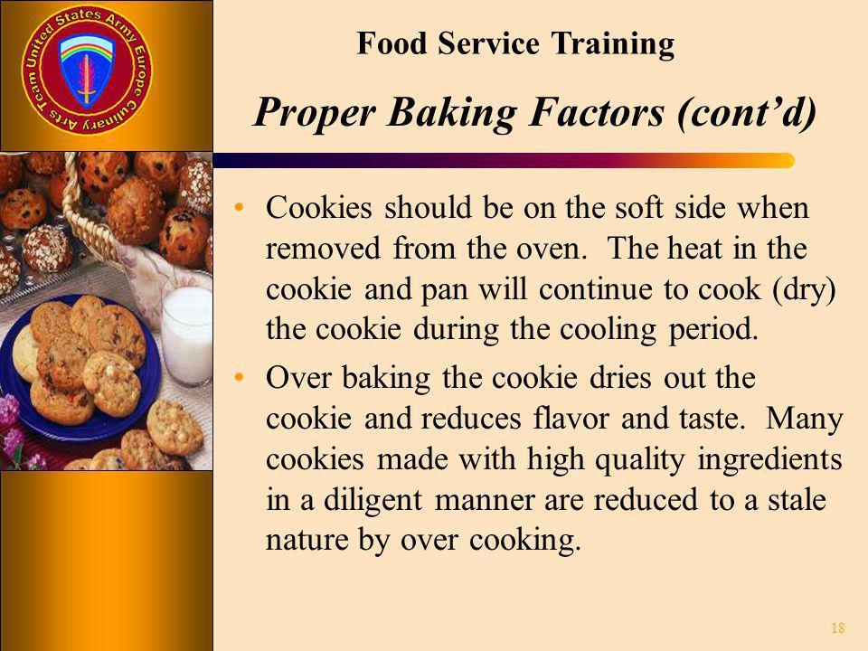 Proper Baking Factors (cont'd)