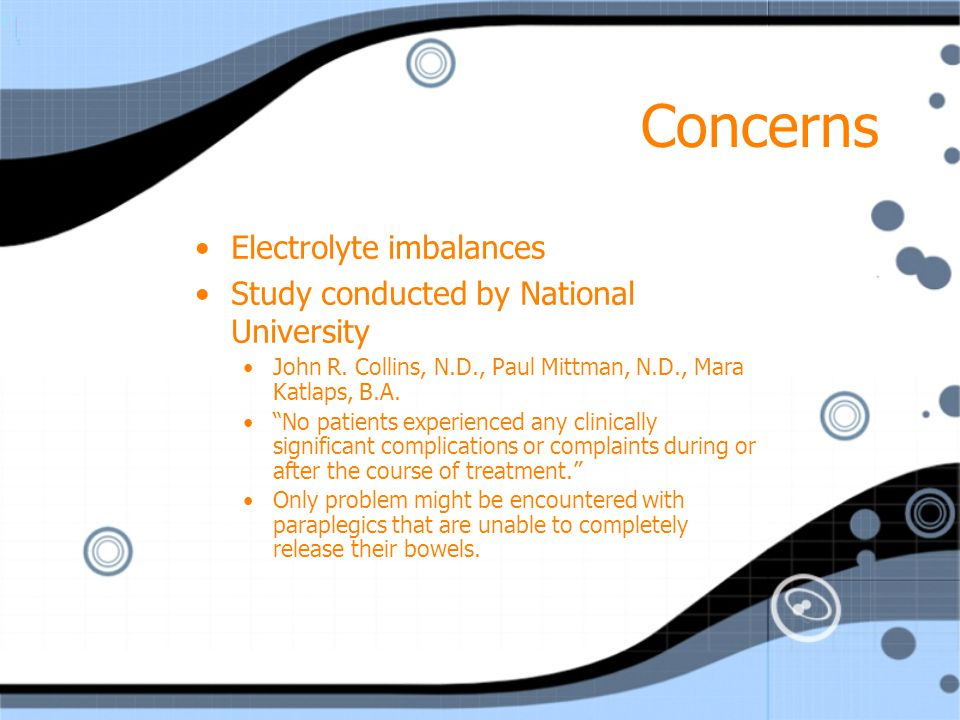 Concerns Electrolyte imbalances Study conducted by National University