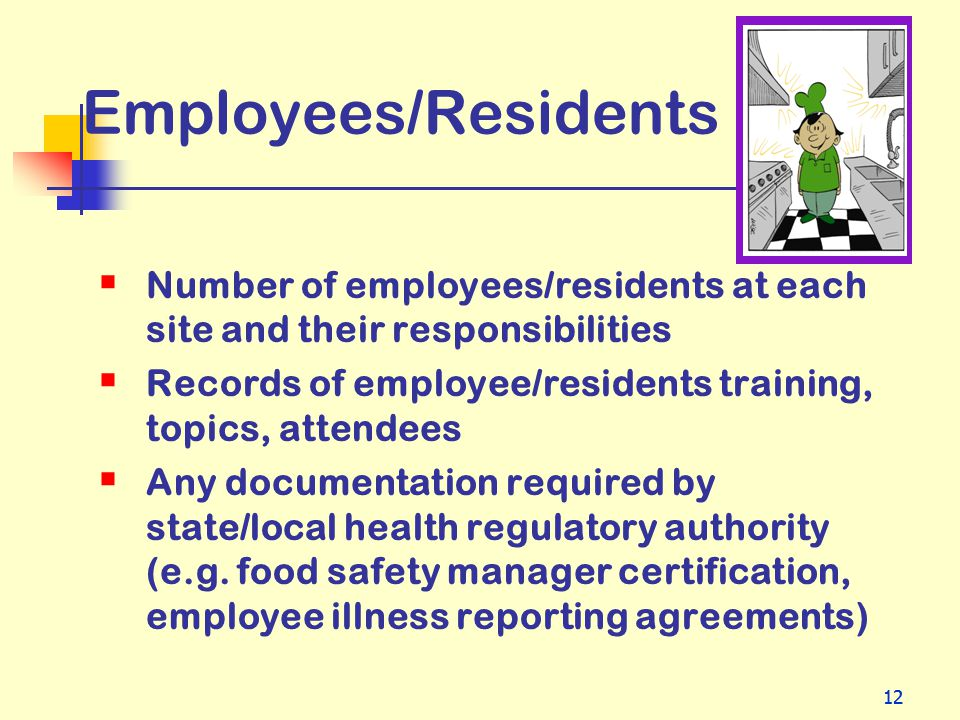 Employees/Residents Number of employees/residents at each site and their responsibilities. Records of employee/residents training, topics, attendees.