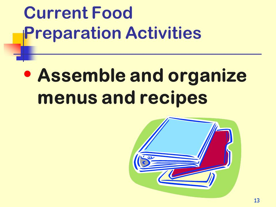 Current Food Preparation Activities