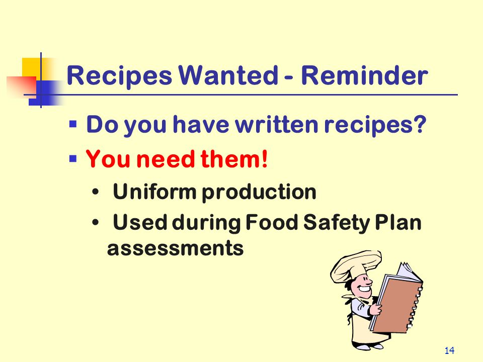 Recipes Wanted - Reminder