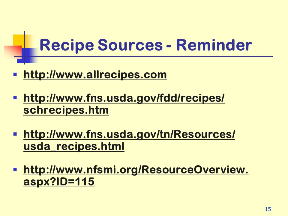 Recipe Sources - Reminder