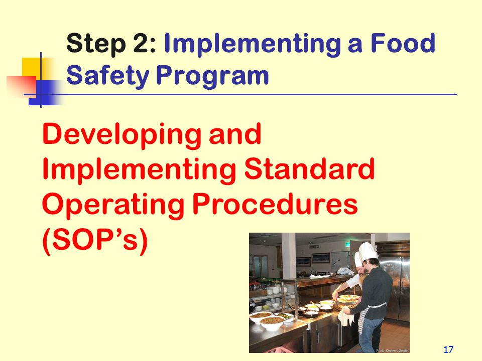 Step 2: Implementing a Food Safety Program