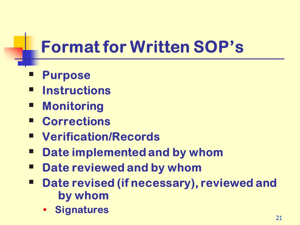 Format for Written SOP's