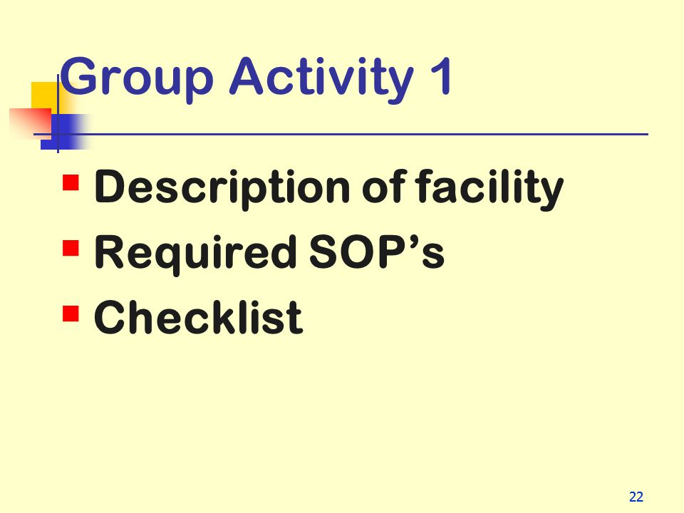 Group Activity 1 Description of facility Required SOP's Checklist 22