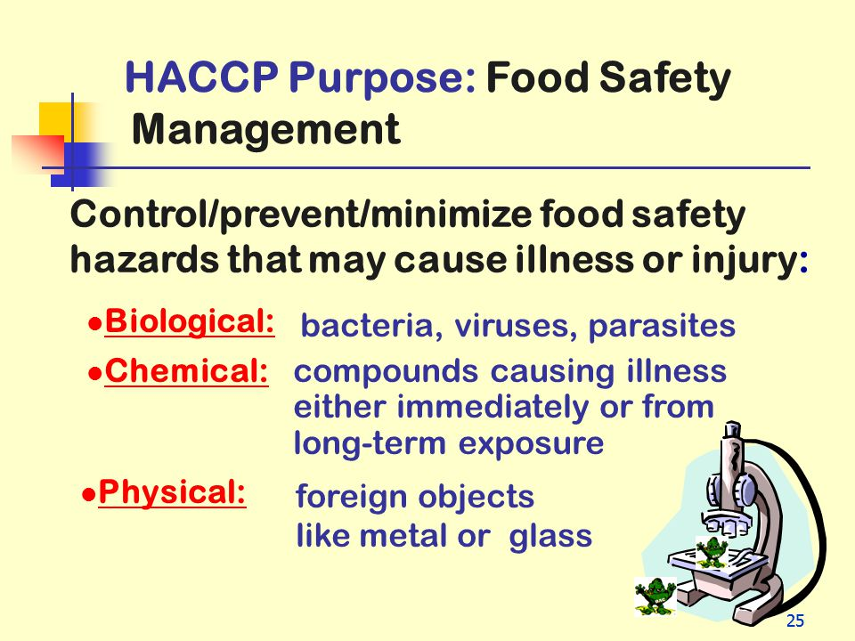 Management HACCP Purpose: Food Safety