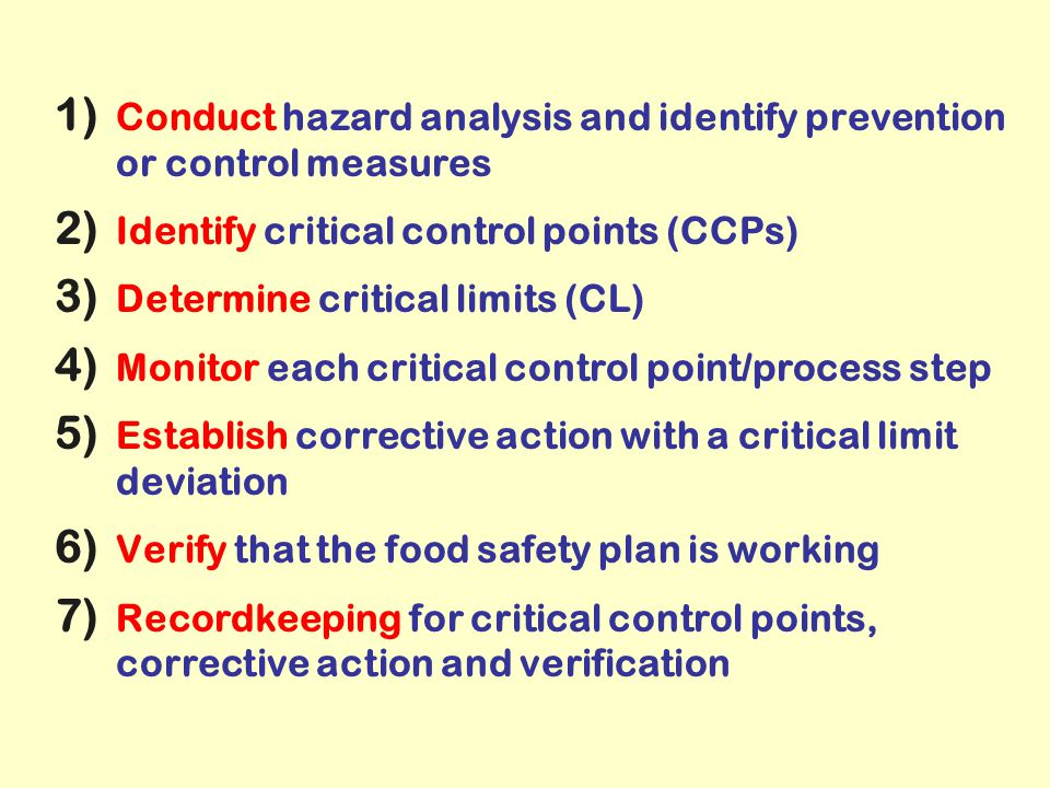 Conduct hazard analysis and identify prevention or control measures