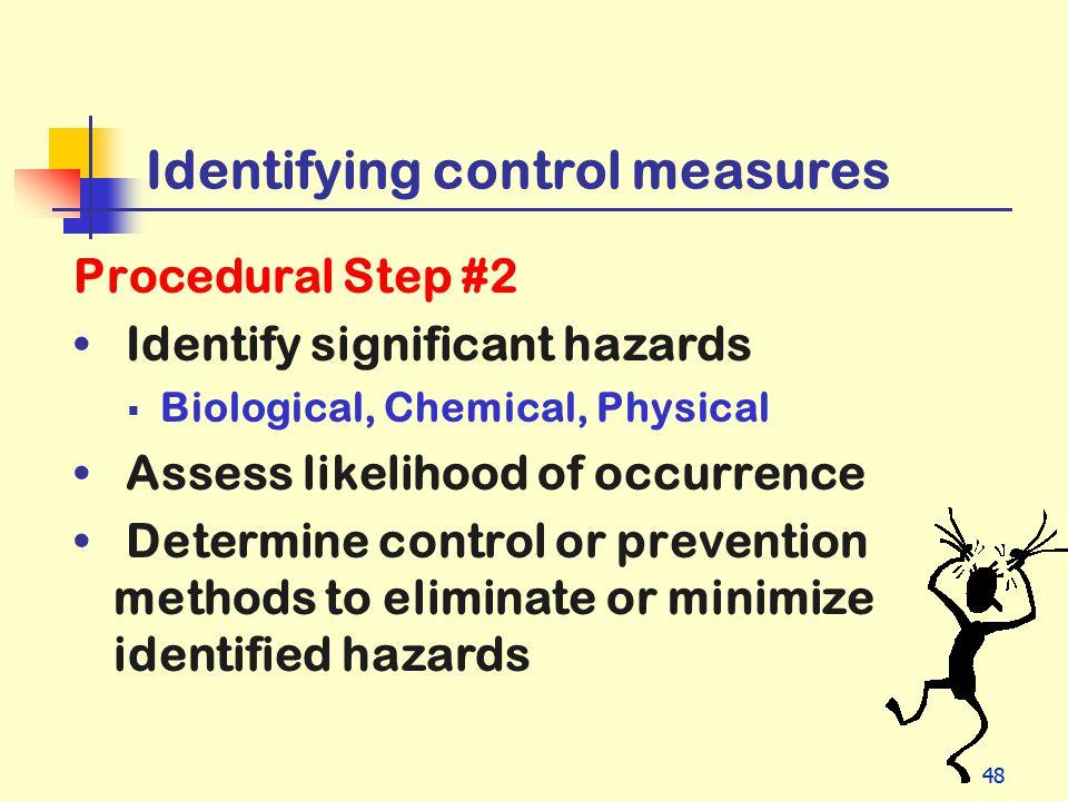 Identifying control measures