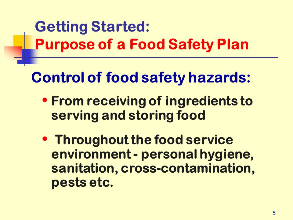 Purpose of a Food Safety Plan