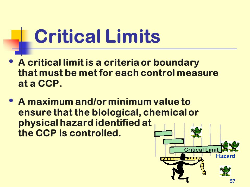 Critical Limits A critical limit is a criteria or boundary that must be met for each control measure at a CCP.
