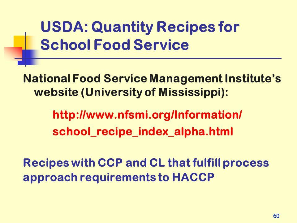 USDA: Quantity Recipes for School Food Service