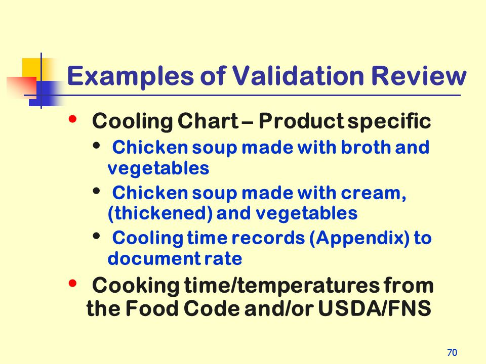 Examples of Validation Review