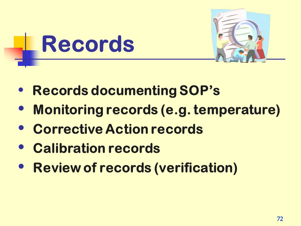 Records Monitoring records (e.g. temperature)