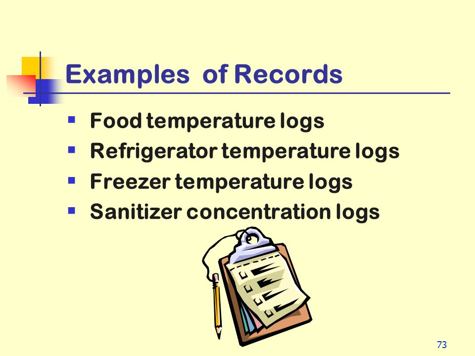 Examples of Records Food temperature logs