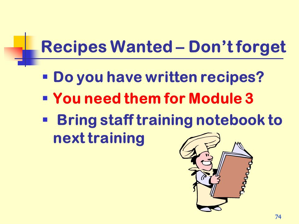 Recipes Wanted – Don't forget