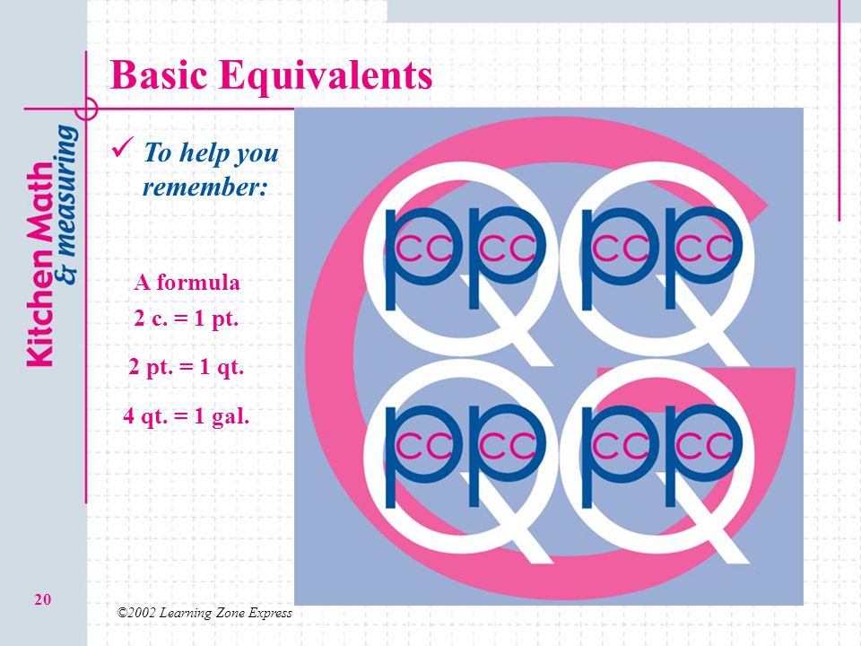 Basic Equivalents To help you remember: A formula 2 c. = 1 pt.