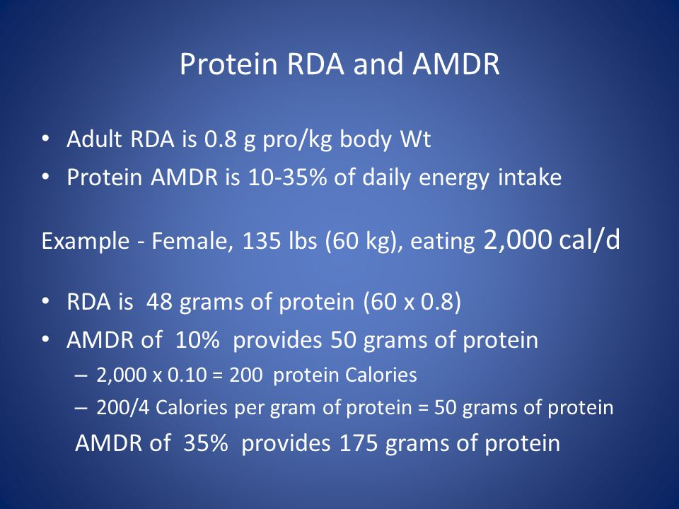Protein RDA and AMDR Adult RDA is 0.8 g pro/kg body Wt