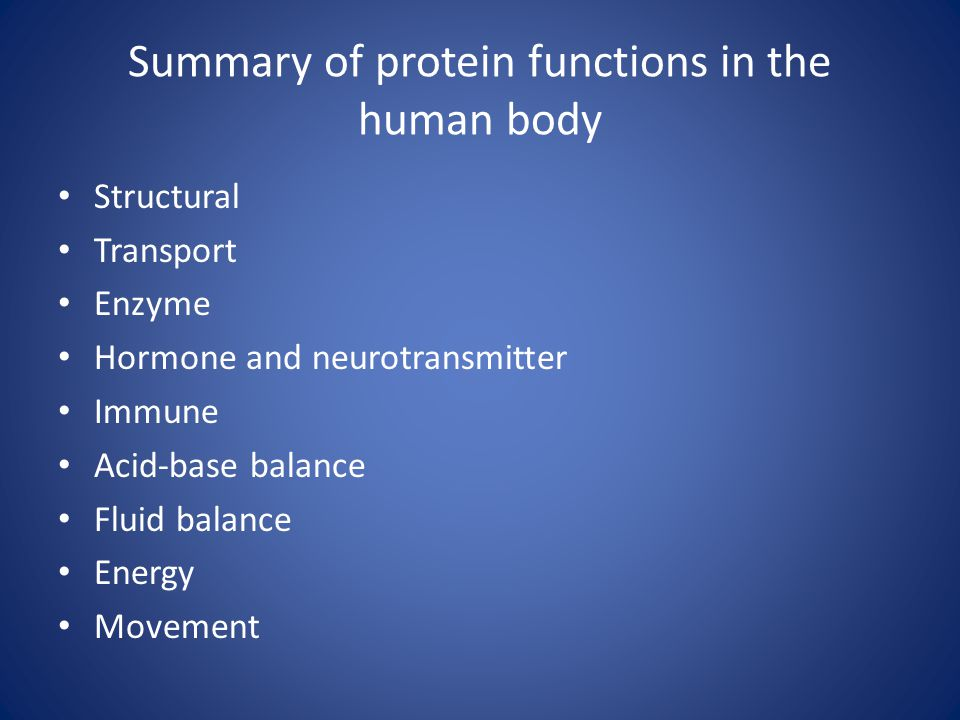 Summary of protein functions in the human body