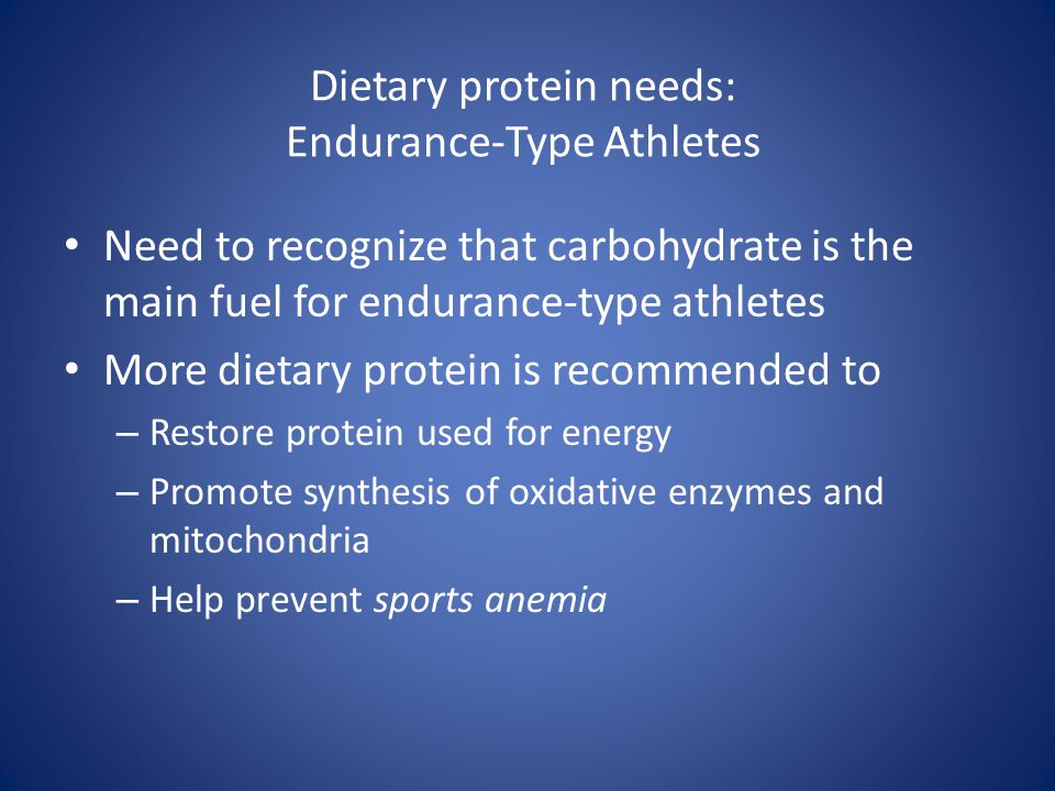Dietary protein needs: Endurance-Type Athletes