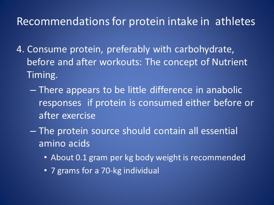 Recommendations for protein intake in athletes