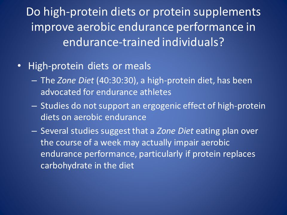 Do high-protein diets or protein supplements improve aerobic endurance performance in endurance-trained individuals
