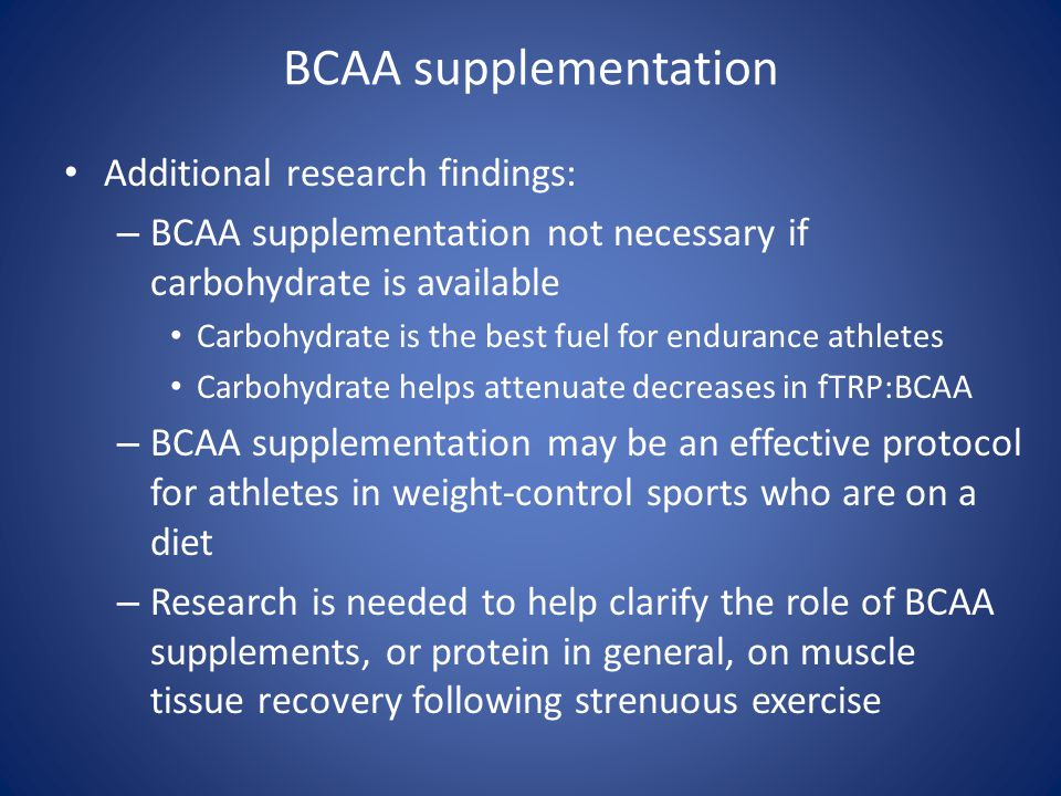 BCAA supplementation Additional research findings: