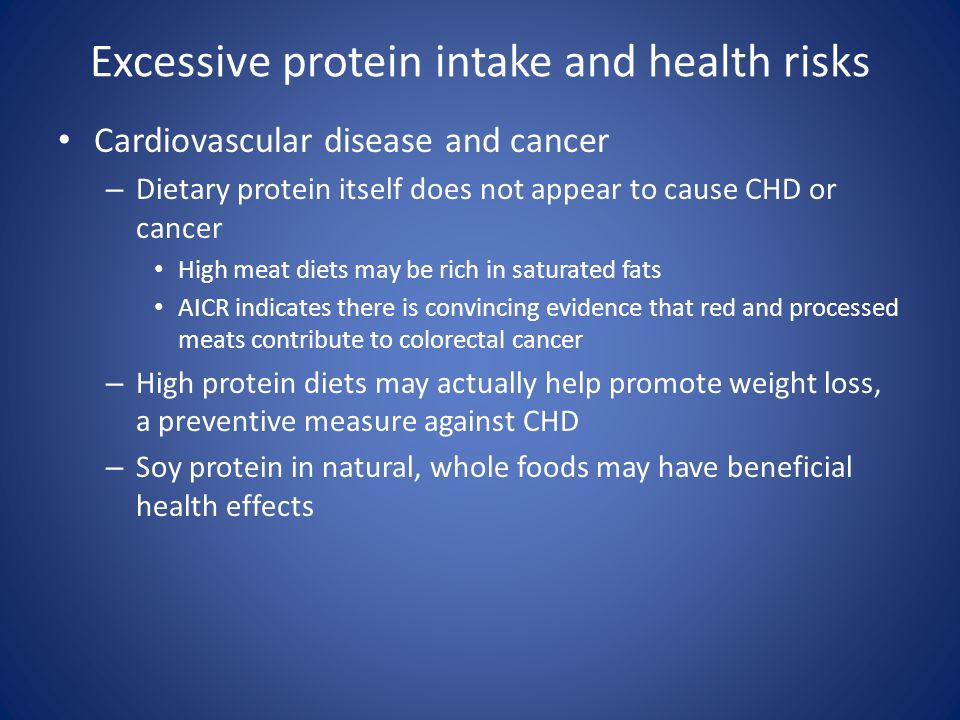 Excessive protein intake and health risks