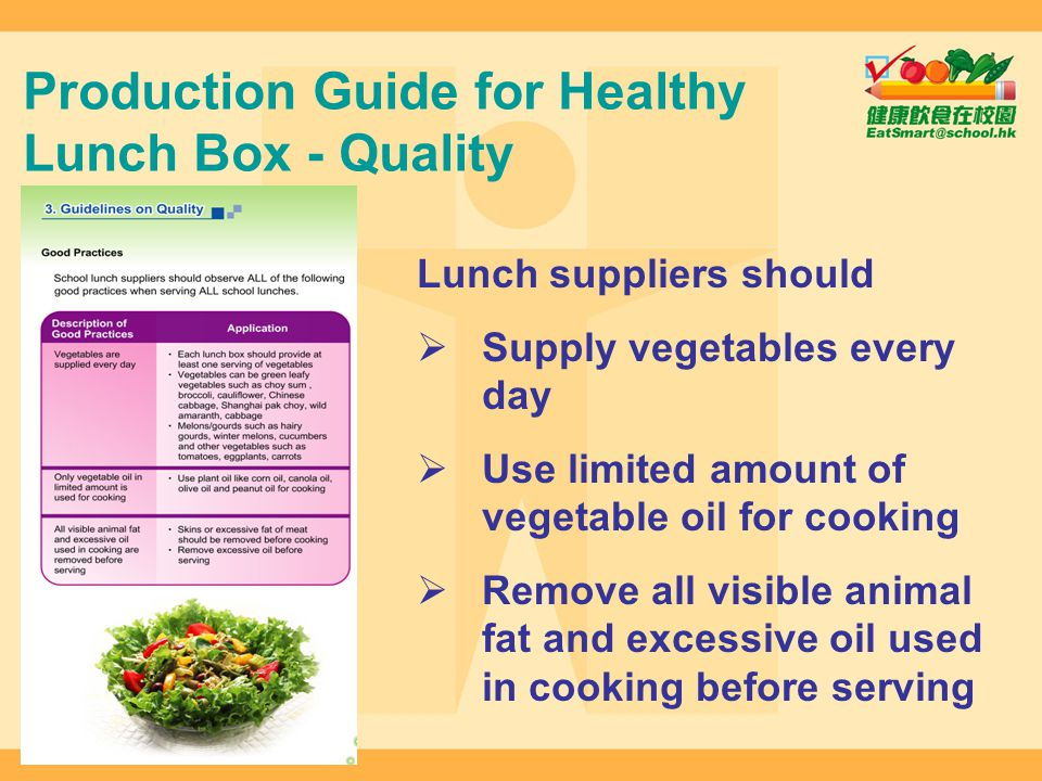 Production Guide for Healthy Lunch Box - Quality