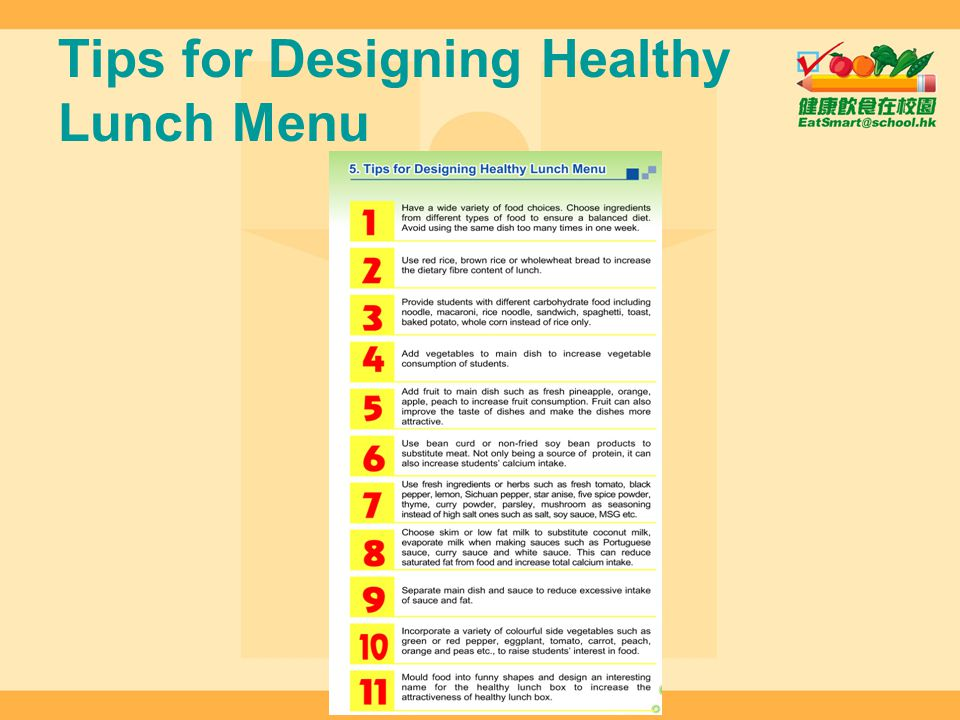 Tips for Designing Healthy Lunch Menu