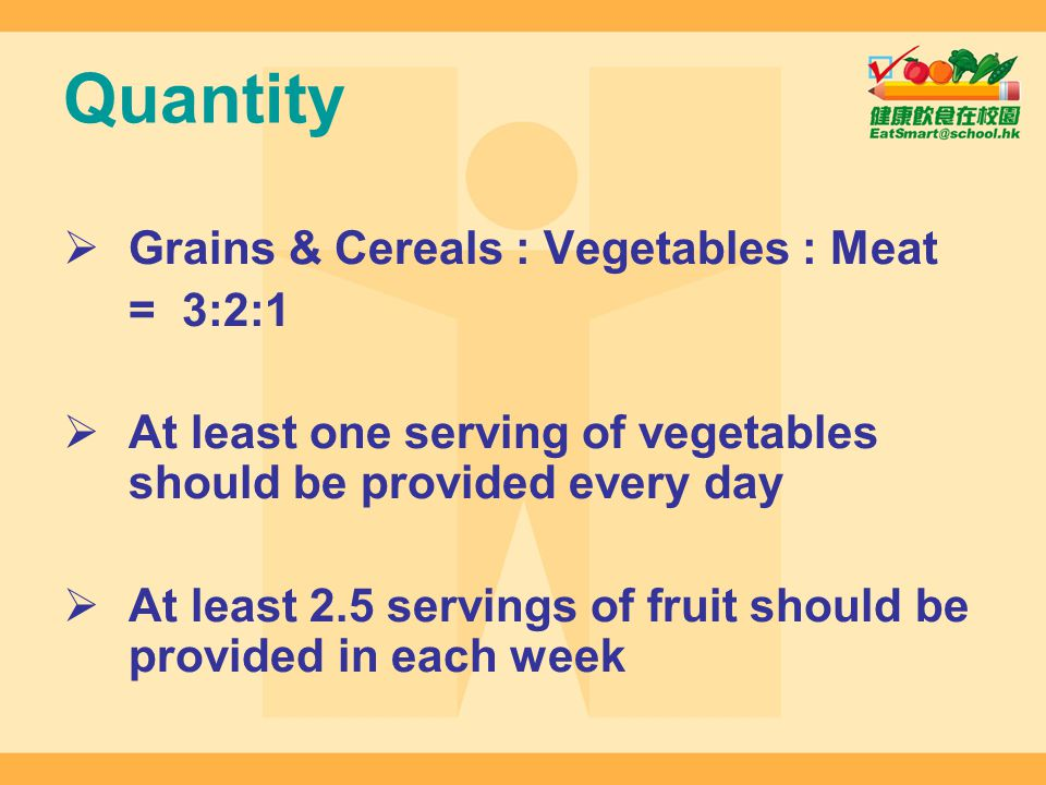 Quantity Grains & Cereals : Vegetables : Meat = 3:2:1