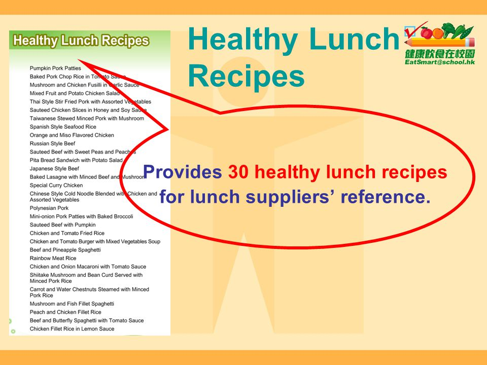 Provides 30 healthy lunch recipes for lunch suppliers' reference.