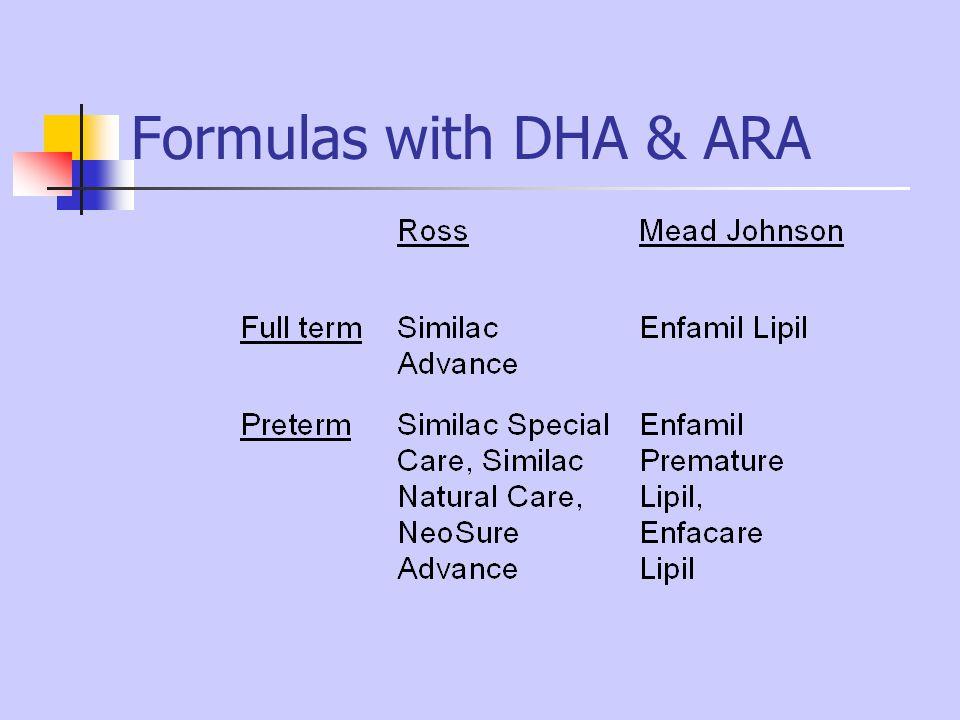Formulas with DHA & ARA