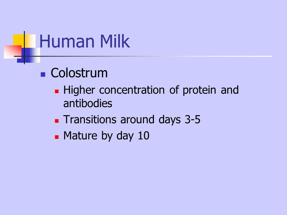 Human Milk Colostrum Higher concentration of protein and antibodies