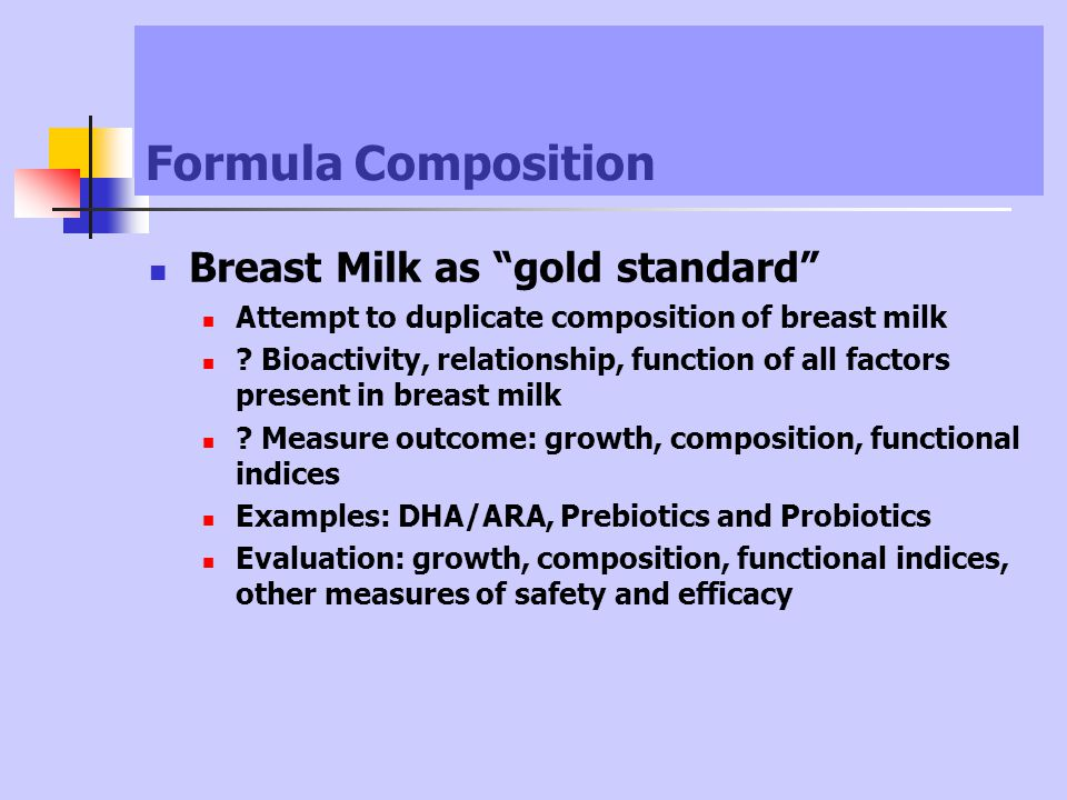 Formula Composition Breast Milk as gold standard