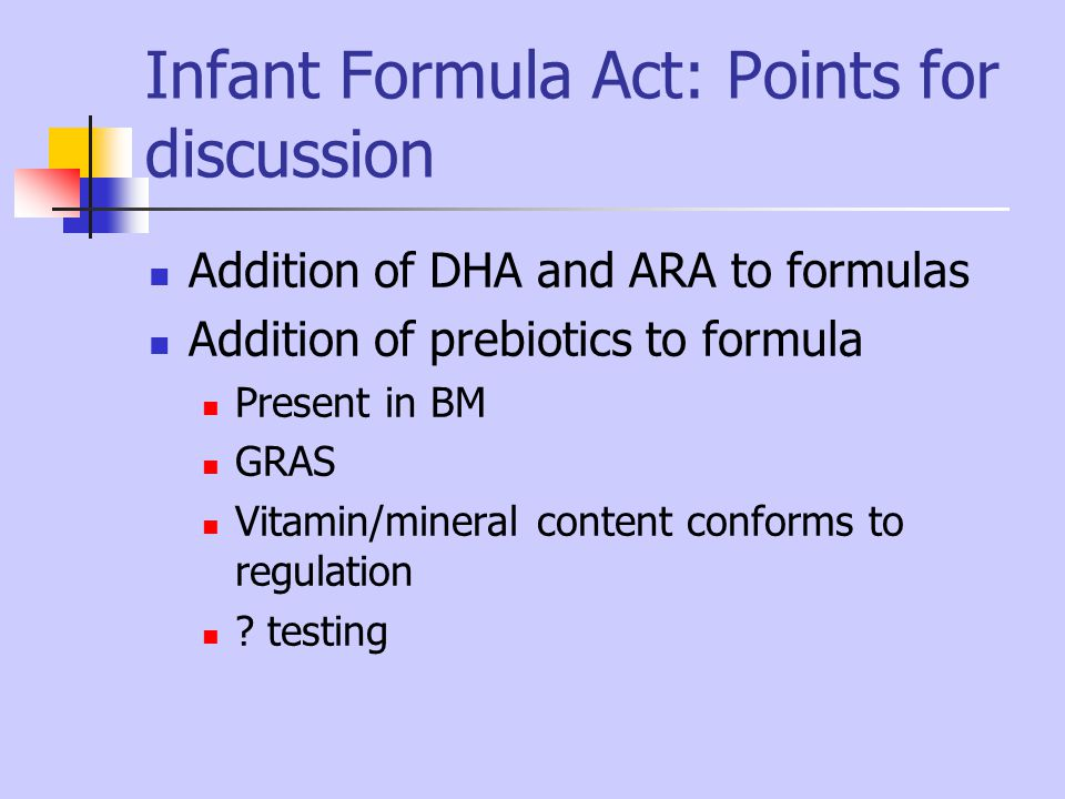 Infant Formula Act: Points for discussion