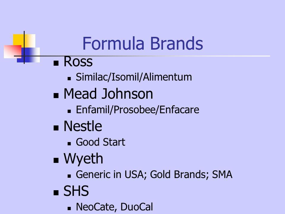 Formula Brands Ross Mead Johnson Nestle Wyeth SHS