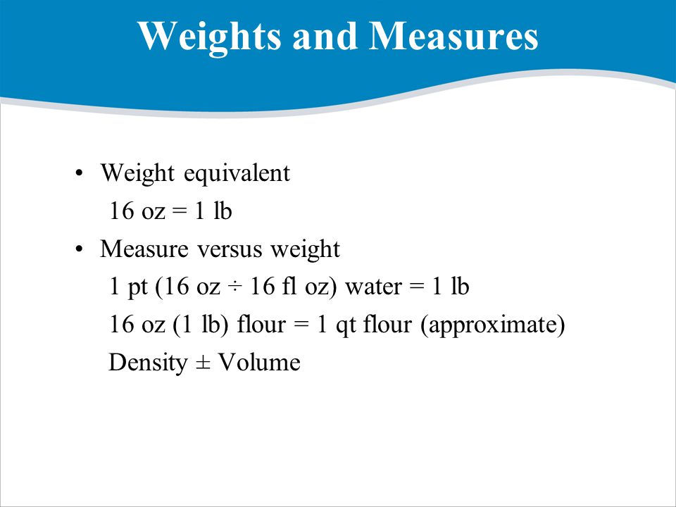 Weights and Measures Weight equivalent 16 oz = 1 lb