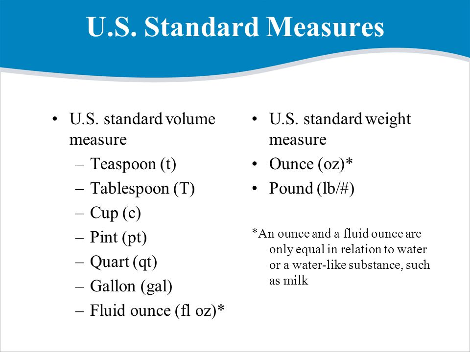 U.S. Standard Measures U.S. standard volume measure Teaspoon (t)
