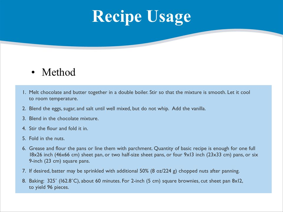 Recipe Usage Method