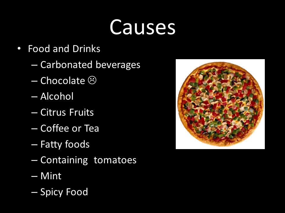 Causes Food and Drinks Carbonated beverages Chocolate  Alcohol