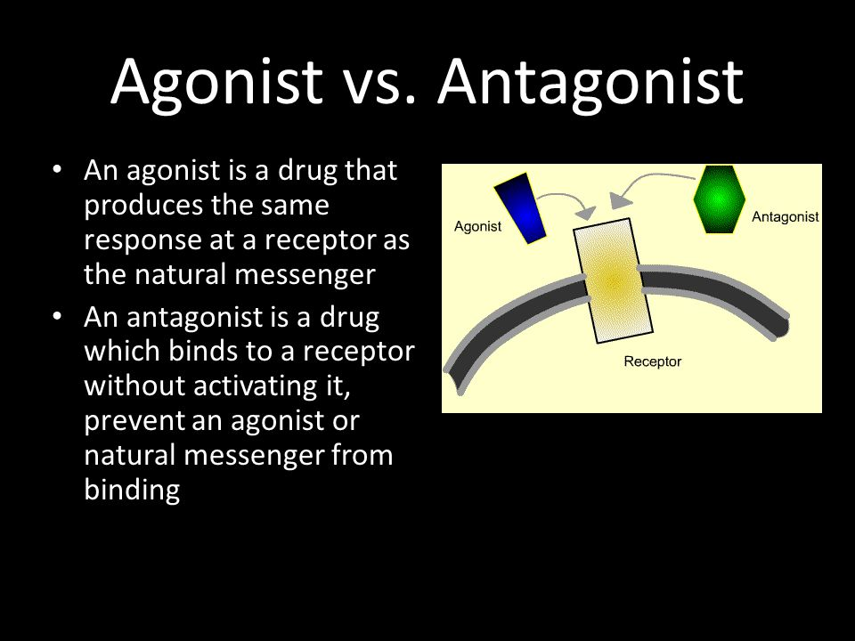 Agonist vs. Antagonist An agonist is a drug that produces the same response at a receptor as the natural messenger.