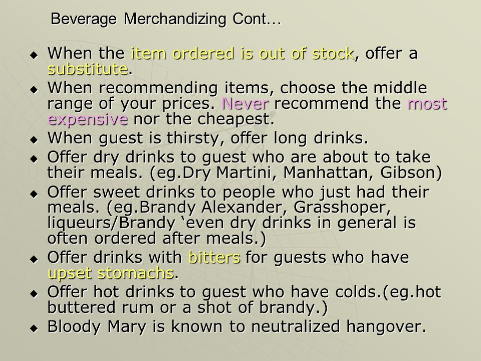 Beverage Merchandizing Cont…