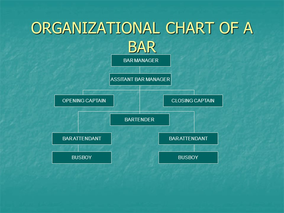 ORGANIZATIONAL CHART OF A BAR