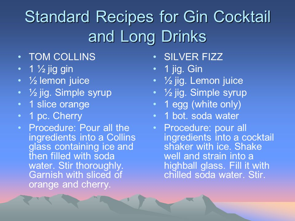 Standard Recipes for Gin Cocktail and Long Drinks