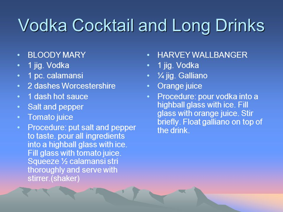 Vodka Cocktail and Long Drinks