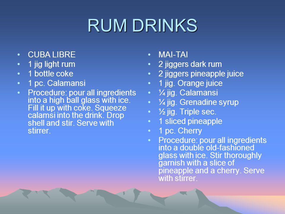 RUM DRINKS CUBA LIBRE 1 jig light rum 1 bottle coke 1 pc. Calamansi